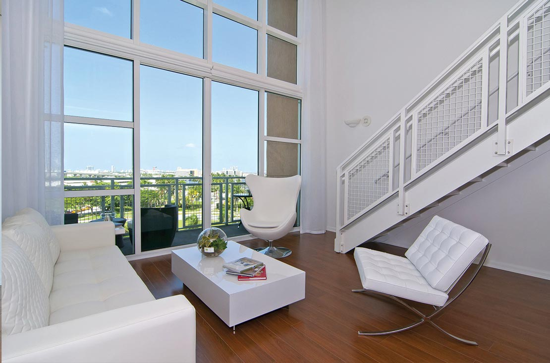Interior Design by MH2G Furniture - Modern Living Room Area at Loft Apartment in Downtown Miami