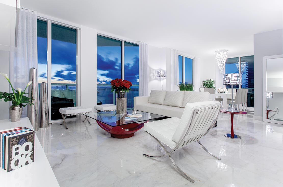 Interior Design by MH2G Furniture - Modern Living Room  at Viscayne Apartment in Downtown Miami