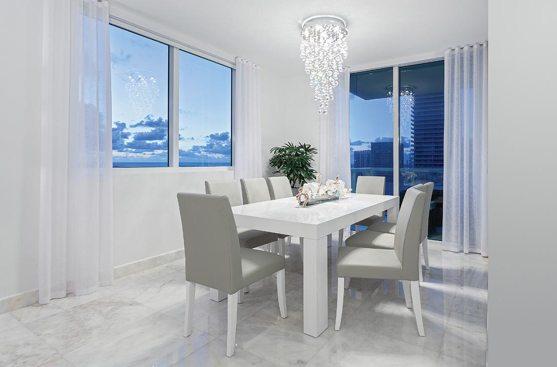 Interior Design by MH2G Furniture - Modern Dining Room and Lighting at Viscayne Downtown Apartments