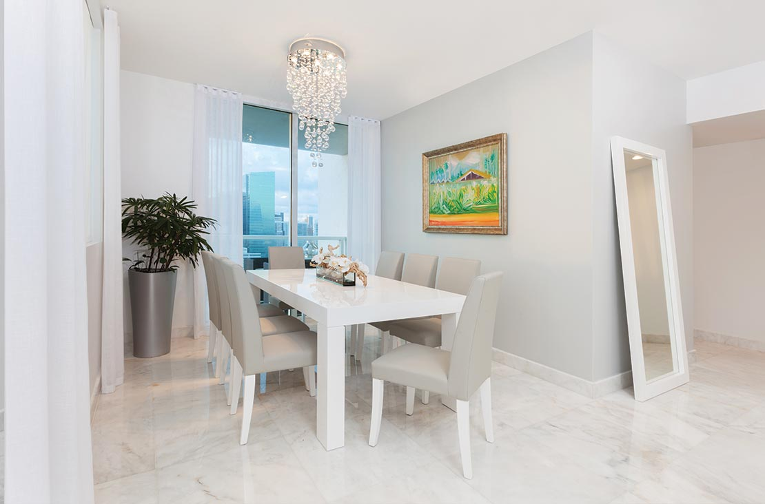 Interior Design by MH2G Furniture - Modern Dining Room at Viscayne Downtown Apartments
