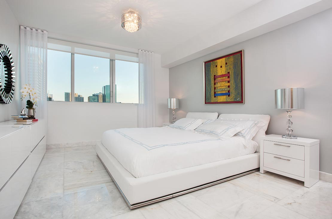 Interior Design by MH2G Furniture - Modern Bedroom at Viscayne Downtown Apartments