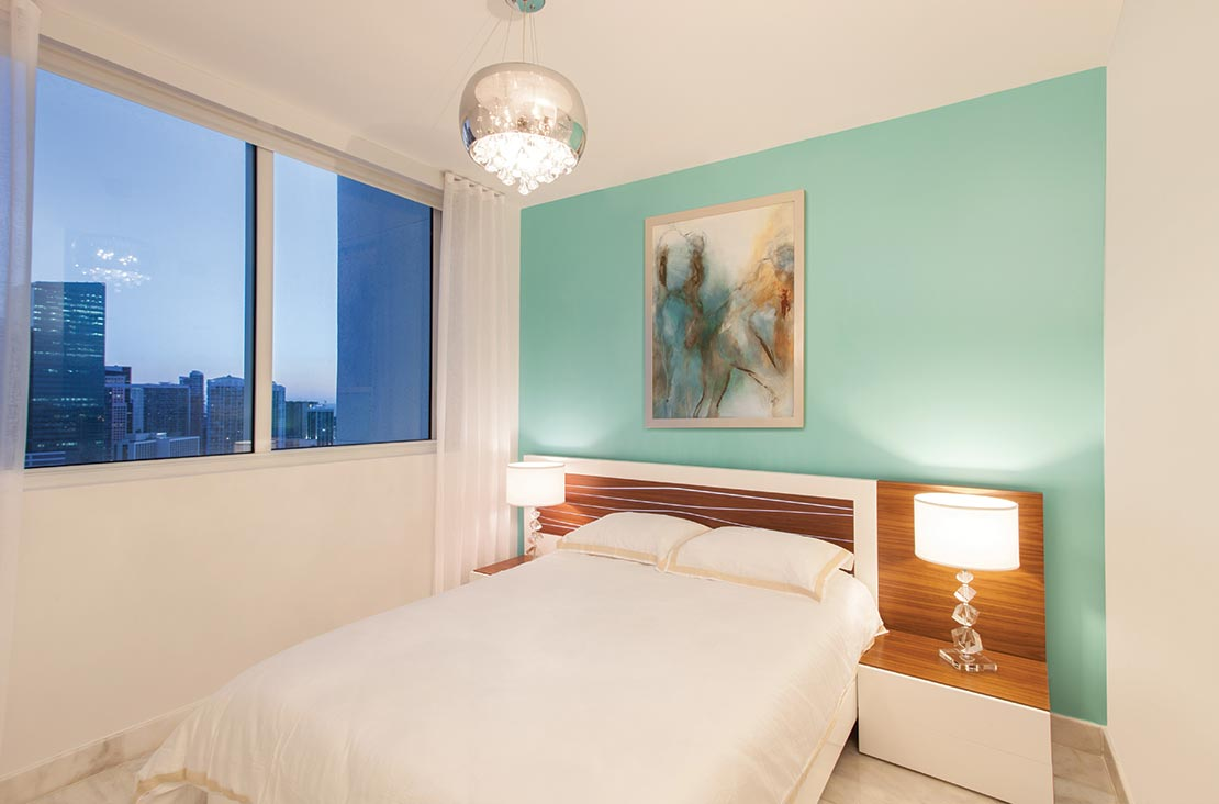 Interior Design by MH2G Furniture - Modern Guest Room at Viscayne Downtown Apartments