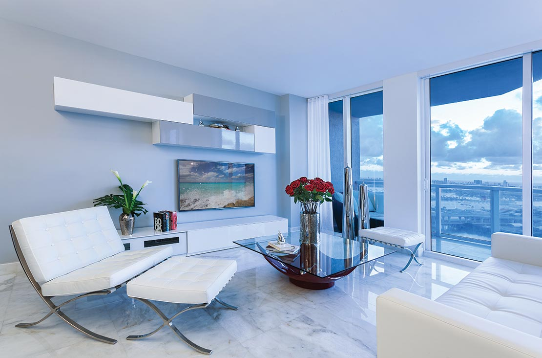 Interior Design by MH2G Furniture - Modern Living Room at Viscayne Downtown Apartments
