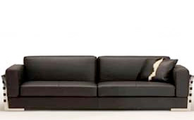Rapalo black leather modern sofa