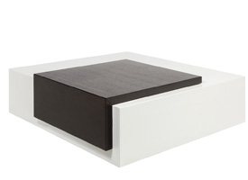 sabri modern coffee table in white and wengue