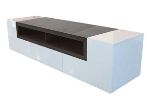 Sabri Modern Tv Unit in White Lacquer and Wengue Finish