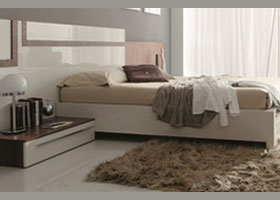 sinthesis modern bed in walnut and white storage
