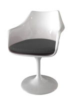 Staffolo dining chair in white lacquer with grey fabric cushion