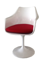 Staffolo tulip dining chair in white lacquer with red fabric cushion
