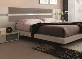 Modern Trez bed in wengue and white lacquer finish