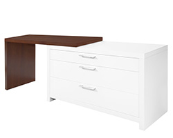 Vercelli Modern Office Desk Tobacco and White Lacquer