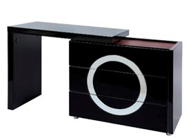 Modern Black lacquer dresser with matching black lacquer L top
