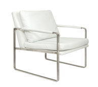 Viano white leather lounge chair