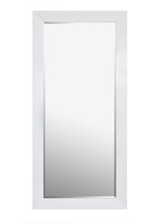 Volterra Standing Modern Mirror faux ligator skin White lacquer Finish