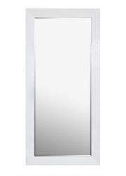 Volterra Standing Modern Mirror faux ligator skin White lacquer Finish