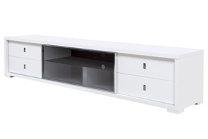 Volterra Modern Tv Unit in White Lacquer with front Glass