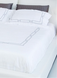 Hand Embroidered Palace Bedding Collection in Grey. Contemporary Bedding collection at Modern Home 2 Go