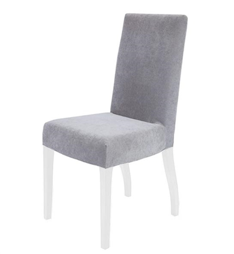 Granada Modern Dining Chairs In Light Grey Fabric White