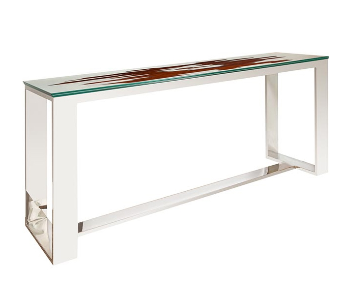 Ebony Glass Top Modern Console Table - DRL FLOOR SAMPLE - AS IS
