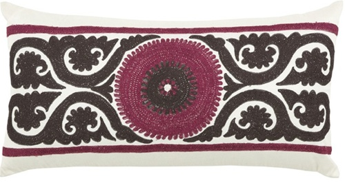 Miranda Lumbar Decorative Pillow Beige & Burgundy Embroidered