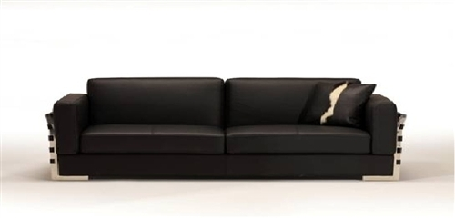 Rapalo Black Leather - Modern Sofa FINAL SALE - SOLD AS IS - NO ...