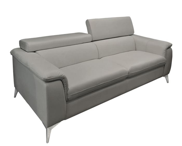 Lucera GREY Leather Sofa - FLOOR SAMPLE - AS IS